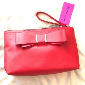 NWT Betsey Johnson Red and Gold Wristlet with Bow